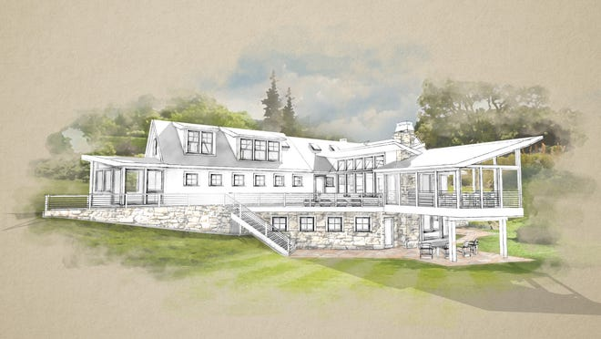 The back exterior of the home will marry modern architecture with 1880s charm, giving the family wall-to-ceiling views of the meadow and pond in their backyard.
